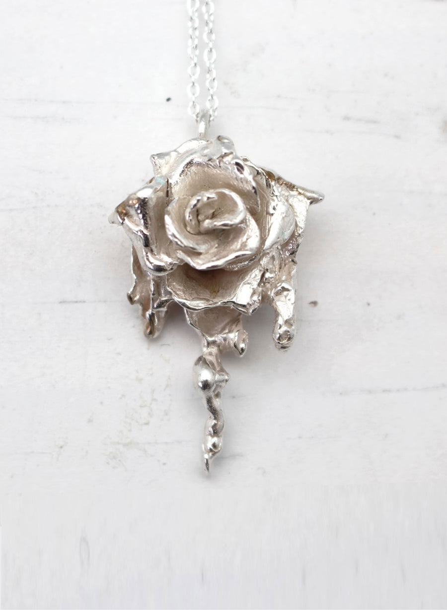 Large Rose Necklace - Silver