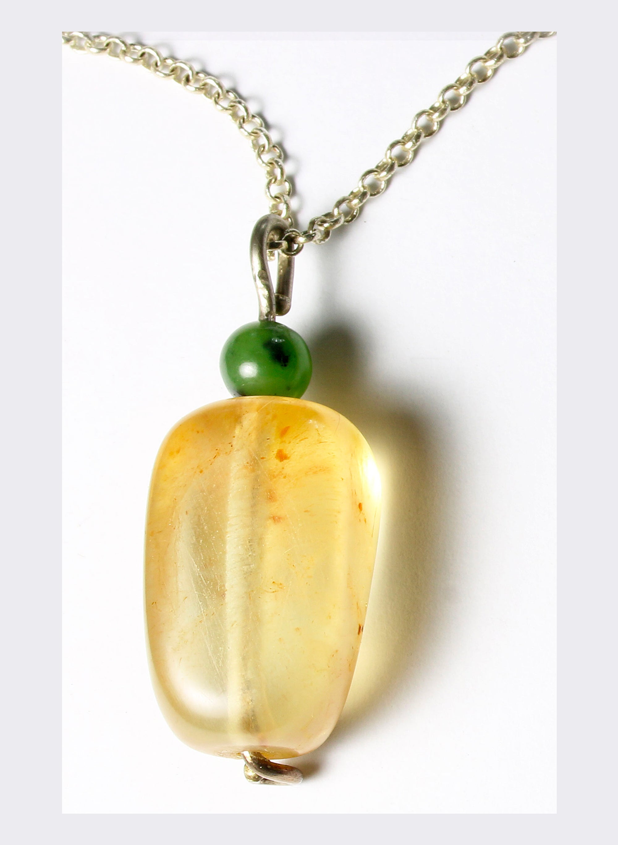 Kauri Gum and Pounamu Pendant with Sterling Silver Chain