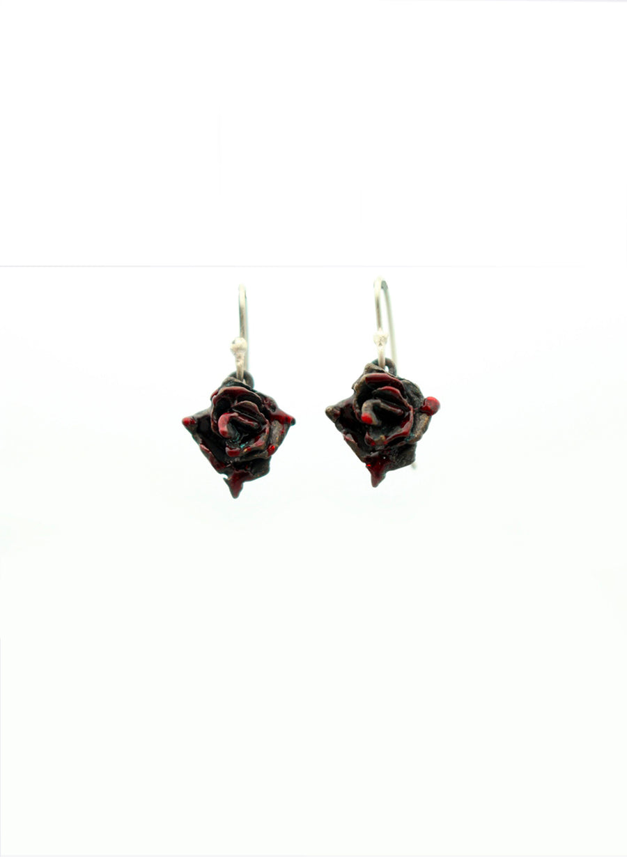 Small Rose Hook Earrings - Dark Red