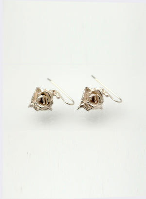 Small Rose Hook Earrings - Silver