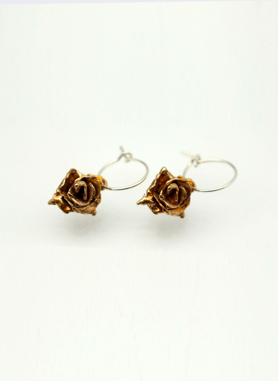Small Rose Hoop Earrings - Bronze