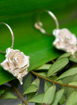 Small Rose Hoop Earrings - Silver