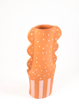 Terracotta Large Scalloped Vase