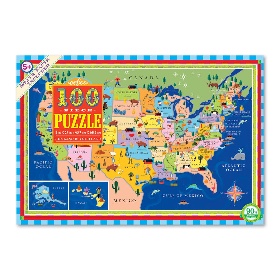 NEW eeBoo This Land Is Your Land 100 Piece Puzzle