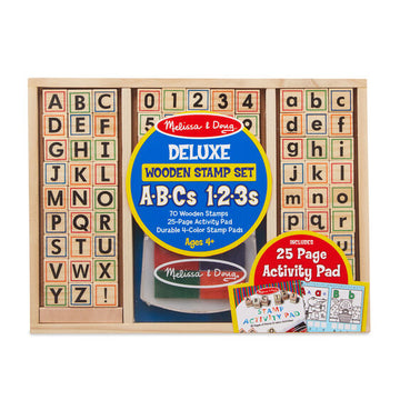 NEW Melissa & Doug Deluxe Wooden Stamp Set - ABCs 123s