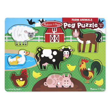 NEW Melissa & Doug Farm Peg Puzzle