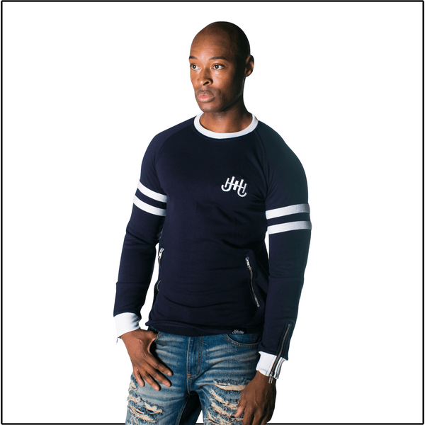 JH Navy Striped Sleeves Sweatshirt-J.Hinton Collections