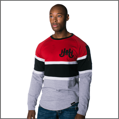 JH Red Striped Sweatshirt-J.Hinton Collections