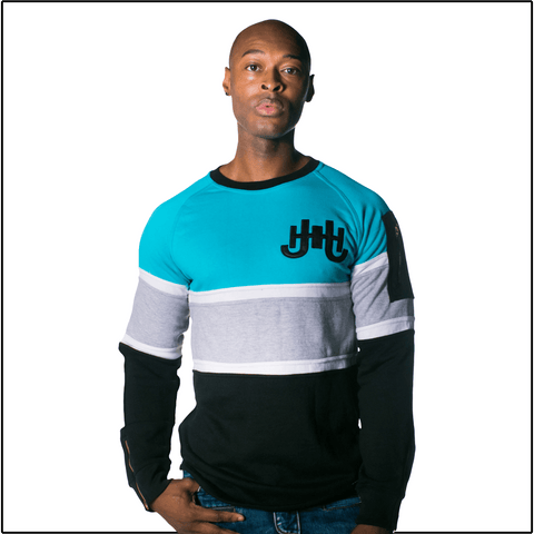 JH Aqua Striped Sweatshirt-J.Hinton Collections