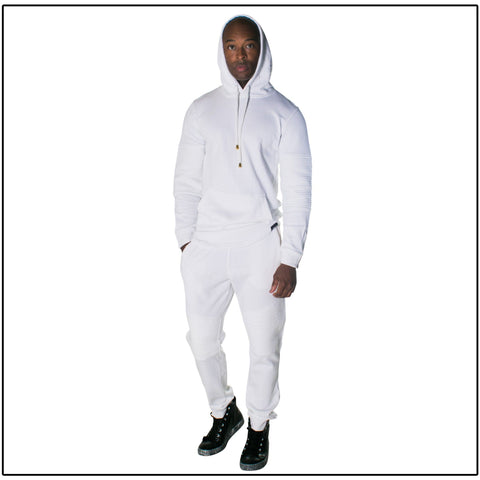 JH Ribbed Biker Jogger Suit(white)-J.Hinton Collections