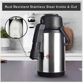 Rust resistant stainless steel carafe on a table
