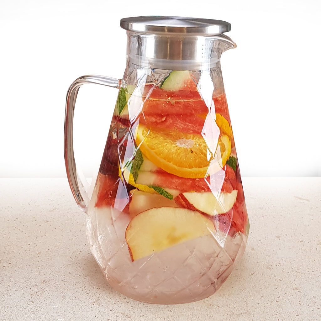 diamond glass pitcher with fruit infusion