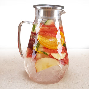 Diamond Glass Pitcher with Lid  (72 Ounces)