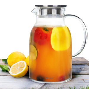 Glass Water Pitcher With Lid (68 Ounces)