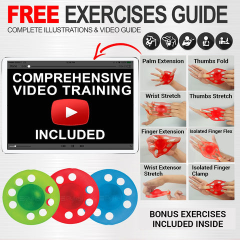 Image of hand strengthener with free exercise guide