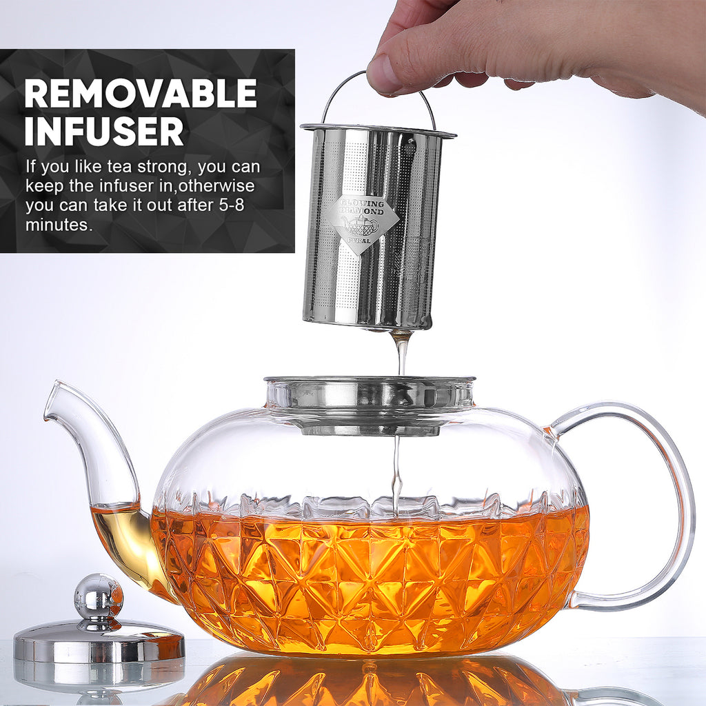 Glowing Diamond Glass Tea pot with Fine Mesh Stainless Steel infuser and a Teapot Warmer