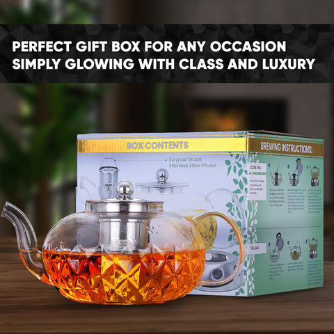 Image of Glowing Diamond Glass Tea pot with Fine Mesh Stainless Steel infuser and a Teapot Warmer