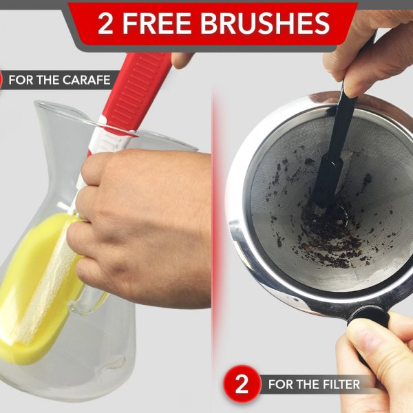 Pour Over Coffee Maker with 2 brushes