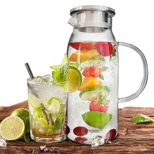 Glass Water Pitcher With Lid (60 Ounces)