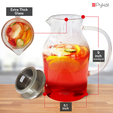 glass pitcher dimension 68oz