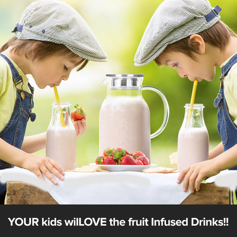 kids with fruits infused drinks