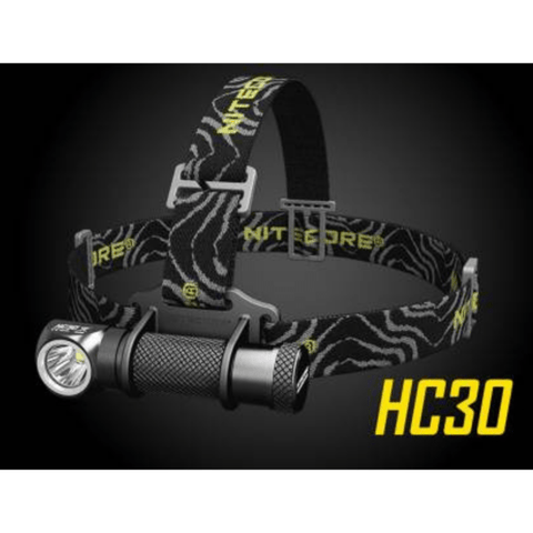 Nitecore HC30 Headlamp on black background