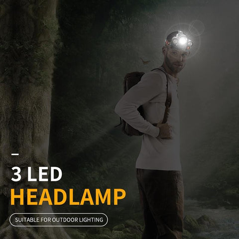 "Image of ""Man wearing a Boruit 1155 Super Bright with 3 LED Headlamp outdoors"""