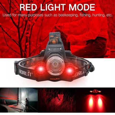 Boruit RJ3000 Headlamp Red Light Mode