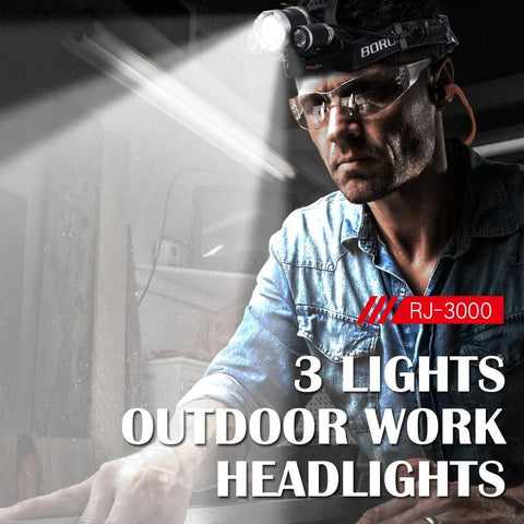 Image of Boruit RJ3000 3 Lights Outdoor Work Headlight