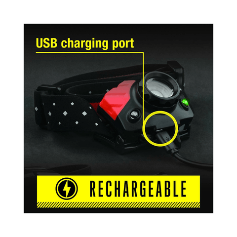 Coast FL75R Rechargeable Headlamp USB charging port