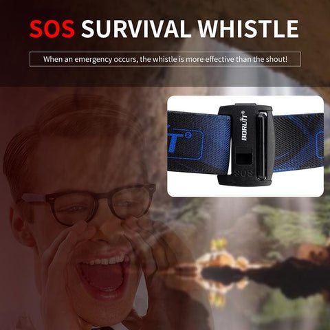 Boruit B22 Headlamp SOS Survival Whistle