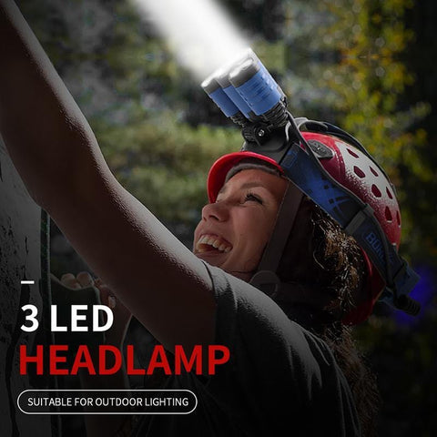 Image of Boruit B22 3 LED Headlamp worn and with light
