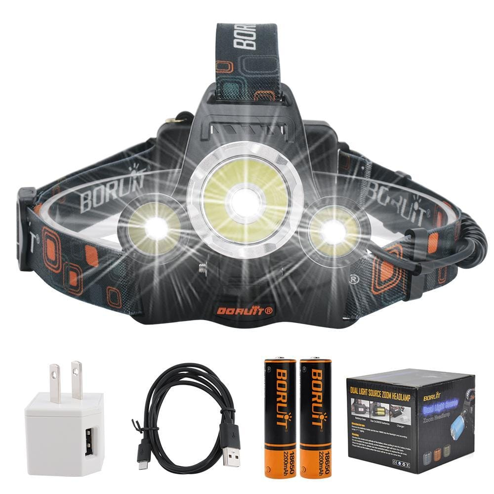 Boruit RJ3000 Headlamp Battery, Direct Cable and Box