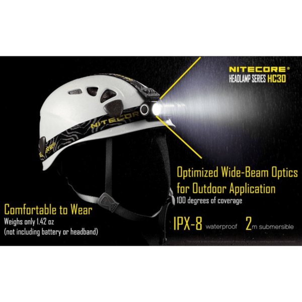Nitecore HC30 Headlamp Comfortable to wear, Optimized wide-beam optics for outdooor
