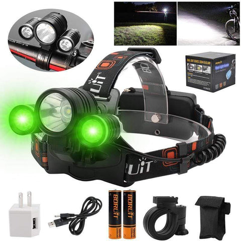 "Image of ""BORUIT 1156 Green LED Headlamp Charger, Direct Cable, Batteries"""