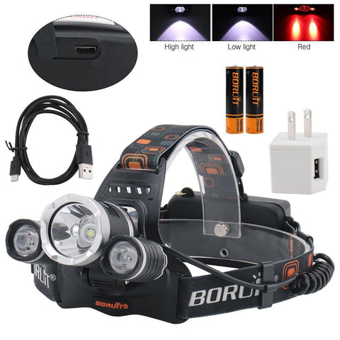 Image of Boruit RJ3000 Headlamp High Light, Low Light and Red Light