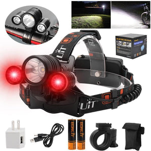 """Boruit 1155 Super Bright RED CREE LED Headlamp Charger, Direct Cable, Batteries"""