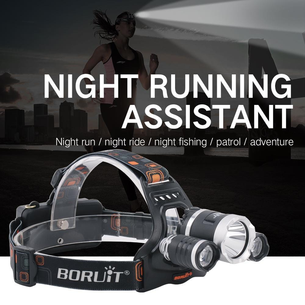 Boruit RJ3000 Headlamp Night Run, Night Ride, Night Fishing, Patrol and Adventure