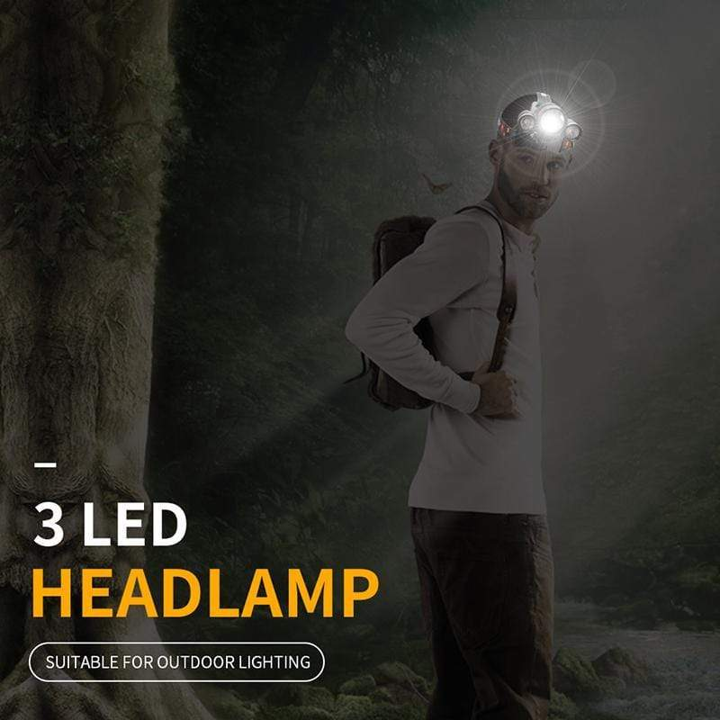 """Man wearing a Boruit 1156 Super Bright with 3 LED Headlamp outdoors"""