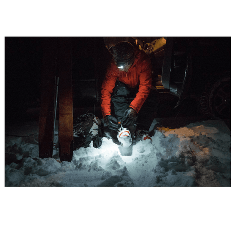 """Skiing at Night with Black Diamond STORM Headlamp during Winter"""