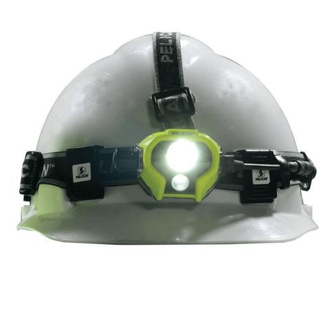 Pelican 2785 Yellow Headlamp on a hard hat front shot