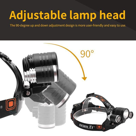 """Boruit 1156 Headlamp with adjustable lamp head 90-degrees up and down"""