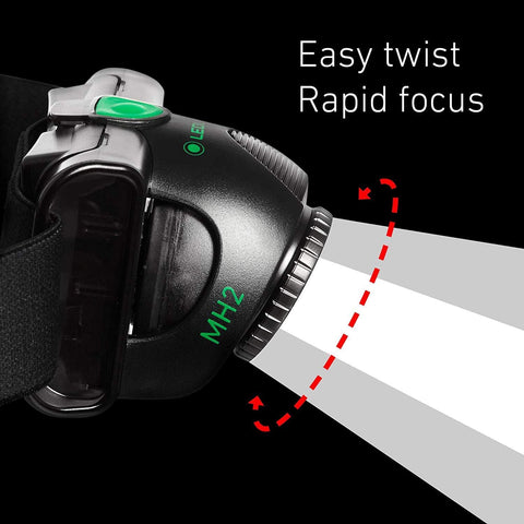 LED Lenser MH2 LED Headlamp Easy Twist Rapid Focus