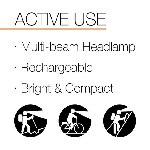 Image of PETZL ACTIK CORE Active Use, Multi-beam Headlamp, Rechargeable, Bright & Compact