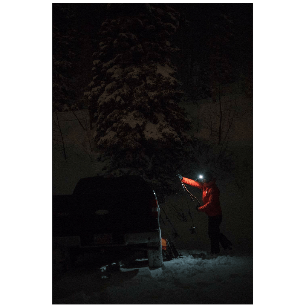 """Fixing the car with Black Diamond STORM Headlamp in snowy night"""