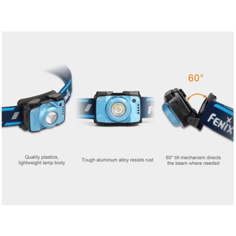 Image of Fenix HL12R Blue Headlamp Quality Plastic, Tough Aluminum, Tilt Mechanism