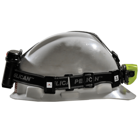 Pelican 2785 Yellow Headlamp on a hard hat side view shot
