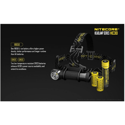 Nitecore HC30 Headlamp 18650 Battery and CR123