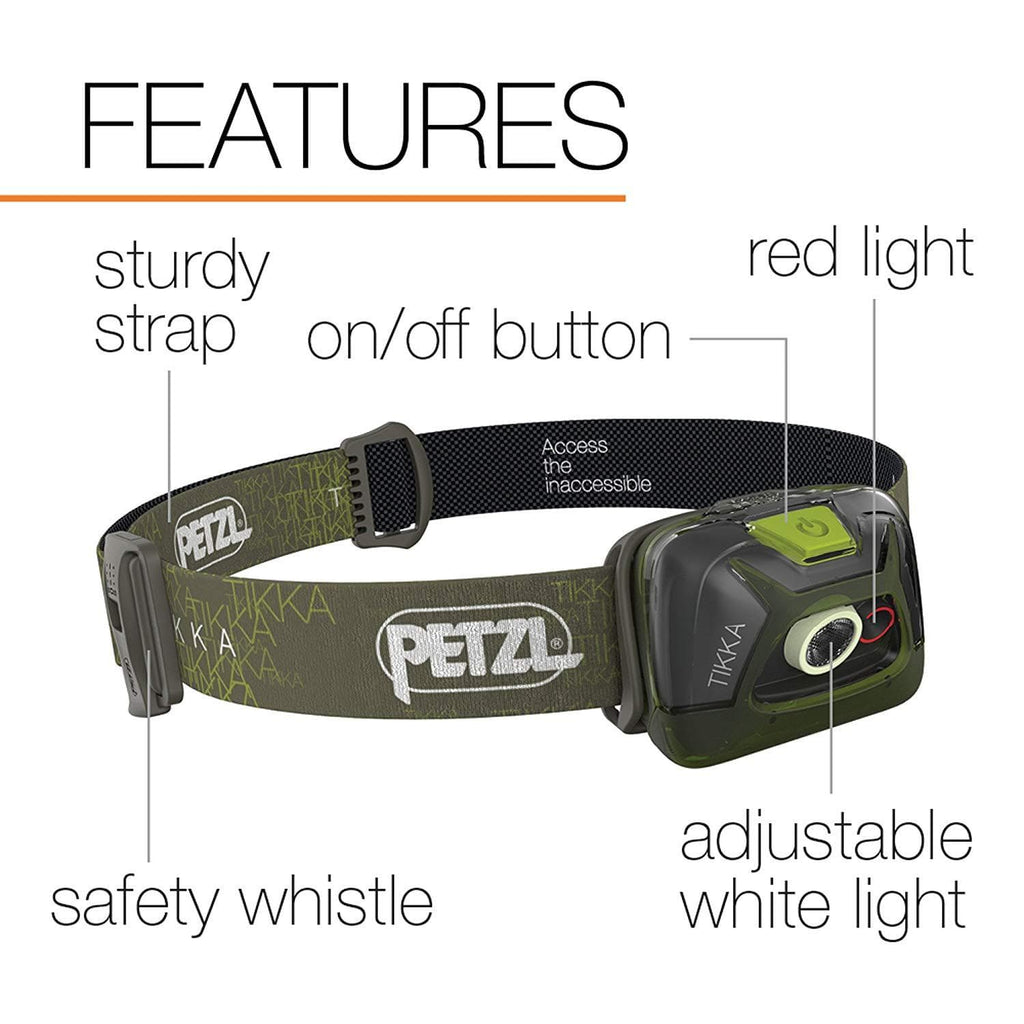 PETZL TIKKA Tactical LED Headlamp Green Features