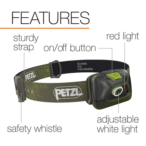 Image of PETZL TIKKA Tactical LED Headlamp Green Features